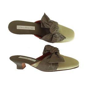 Oliva Rose Tal bow tie 👒 kitten heels 🐸 mules